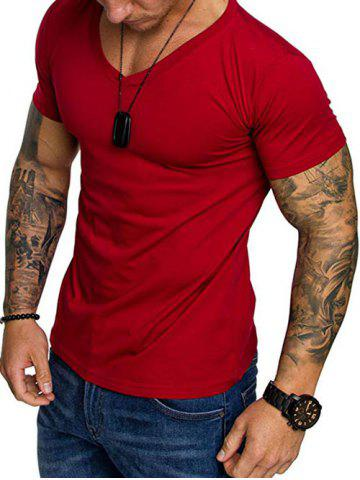 Short Sleeves Solid Color V-neck T-shirt