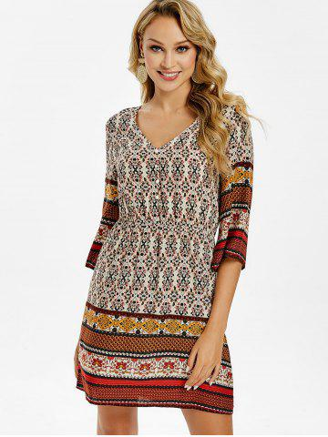 7096c3dbb41d V Neck Color Block Bohemian Dress