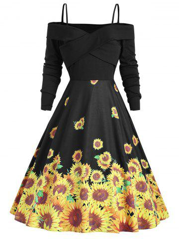 Cross Sunflower Print A Line Vintage Dress