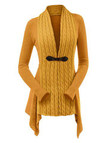 6ba0fd36df0b Cable Knit Asymmetrical Long Cardigan
