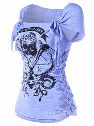 Braided Shredding Skull Print Graphic Tee -