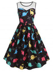 Mesh Insert Cartoon Dinosaur Print Vintage Dress -