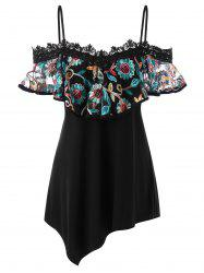 Foldover Embroidery Floral Tunic T-shirt -