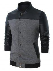 Panel Snap Button Front Pocket Jacket -