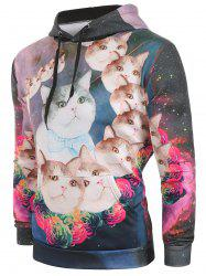 Galaxy Cats Flowers Print Pullover Hoodie -