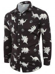 Animals Print Button Up Long Sleeves Casual Shirt -