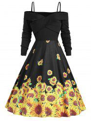 Cross Sunflower Print A Line Vintage Dress -