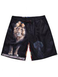 American Flag Lion Print Drawstring Beach Shorts -