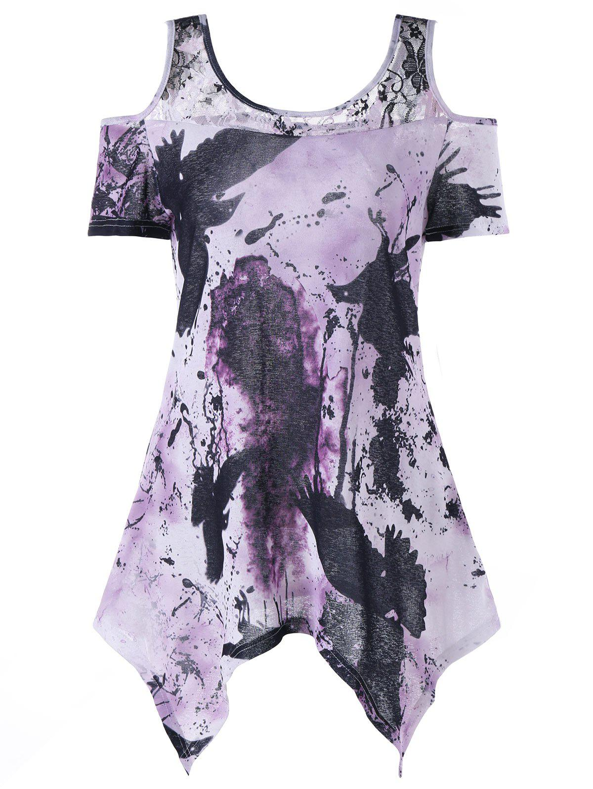 Shop Handkerchief Tie Dye Cold Shoulder T-shirt