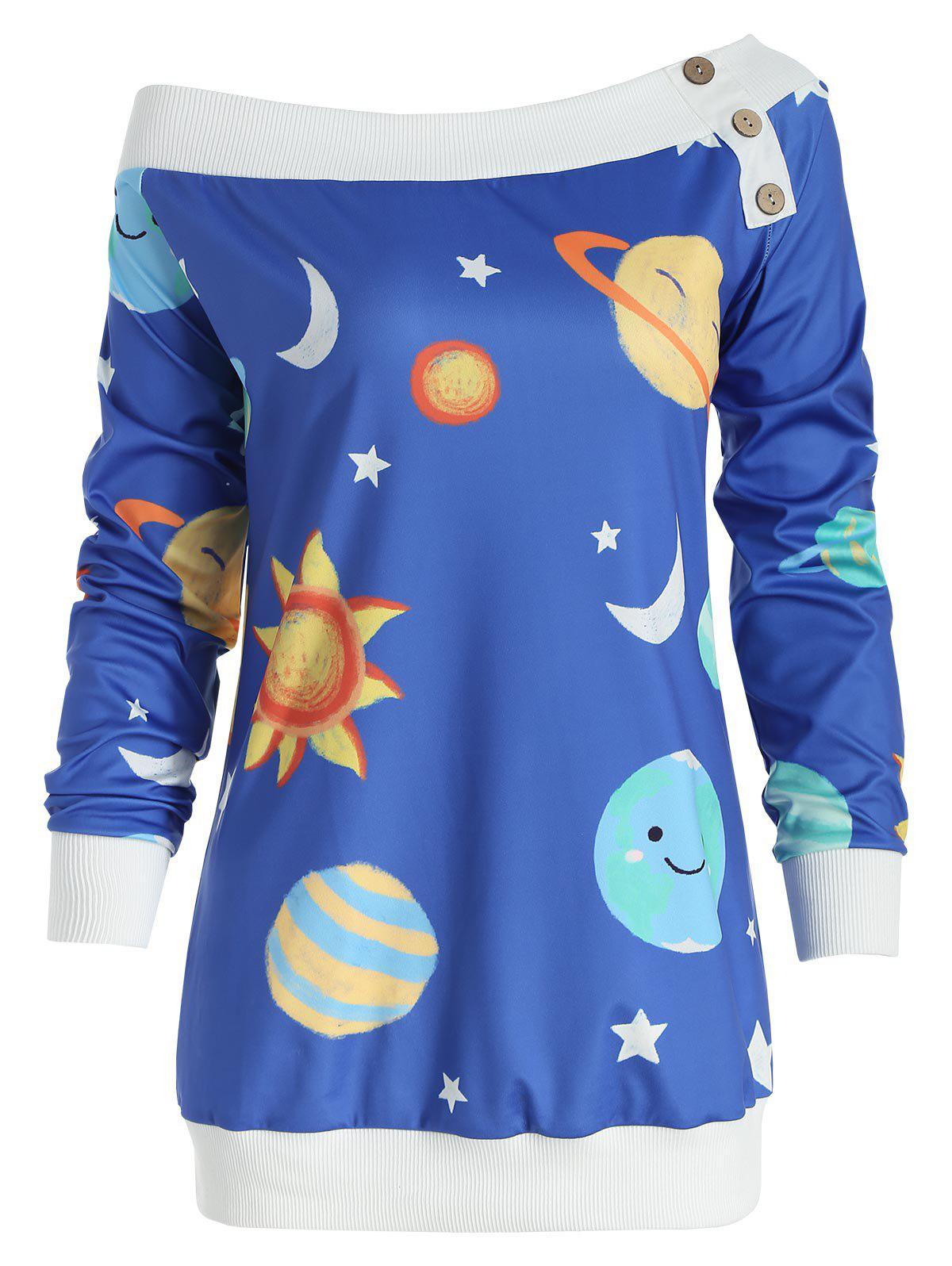 Fancy Sun and Moon Print Skew Neck Sweatshirt