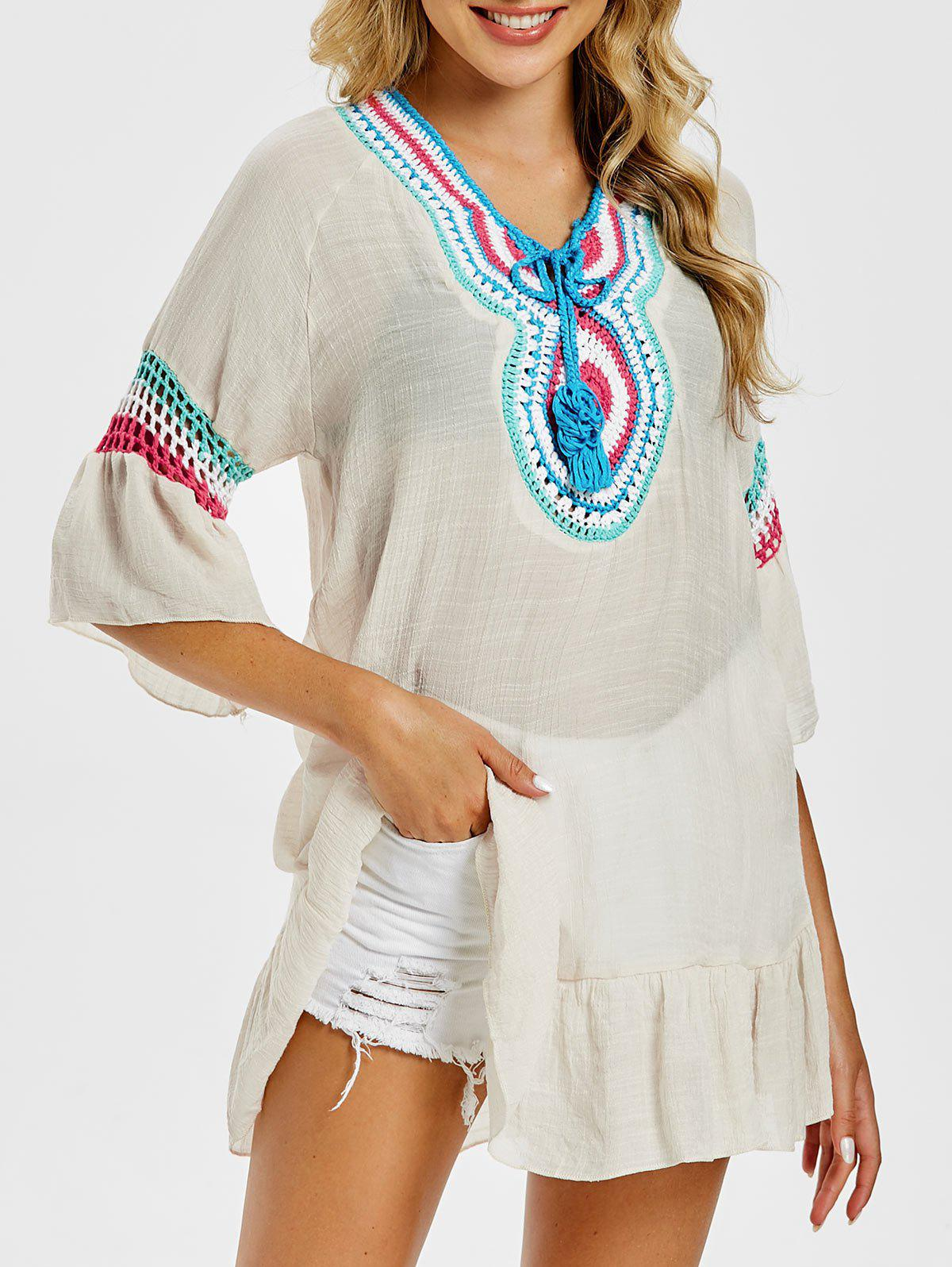 Affordable Flounce Flare Sleeve Crochet Top