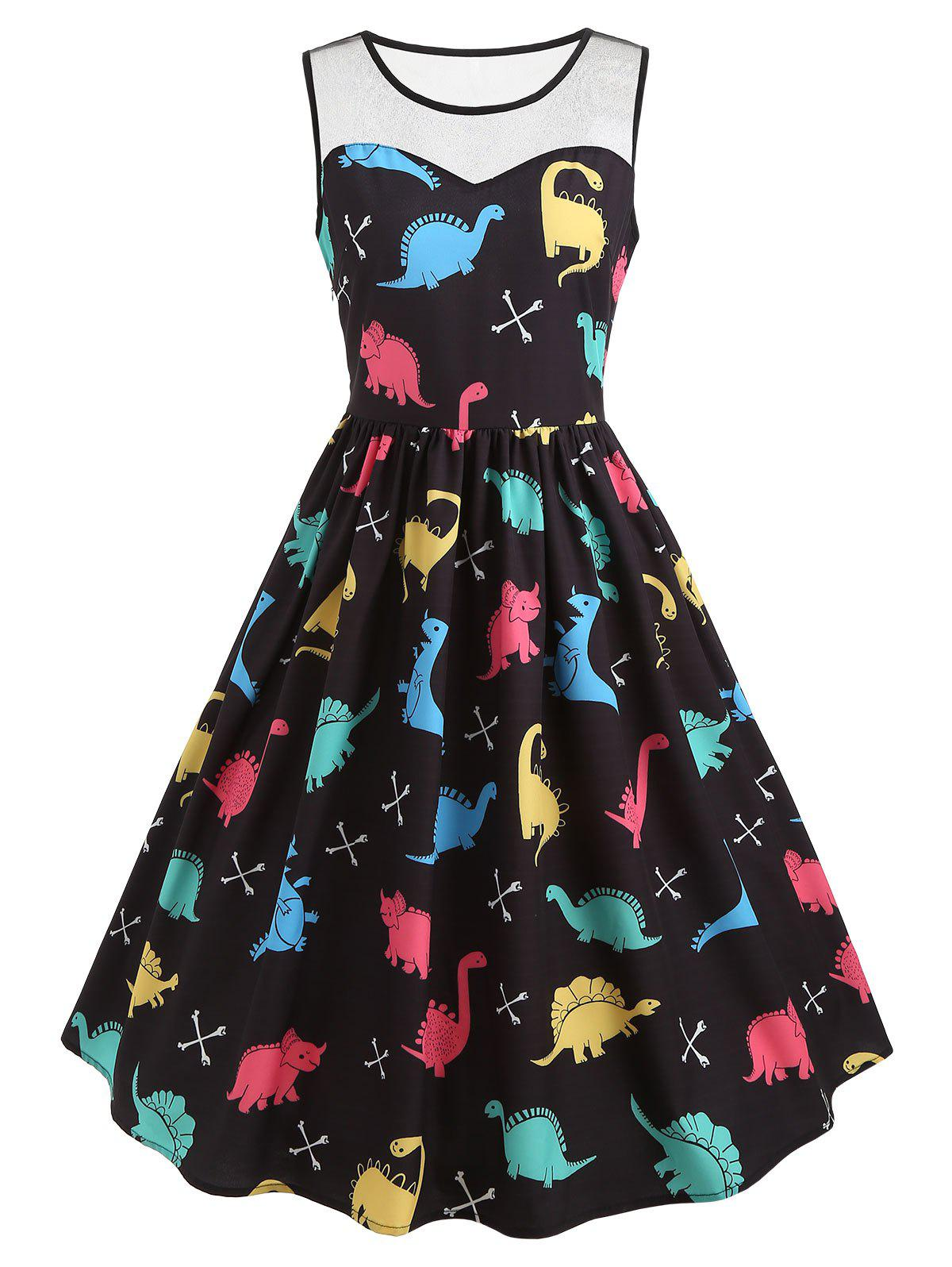 Hot Mesh Insert Cartoon Dinosaur Print Vintage Dress