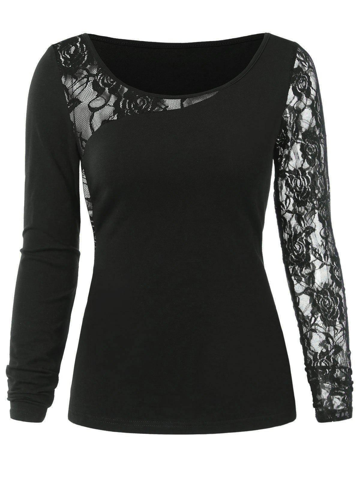 Hot Floral Lace Insert Tee