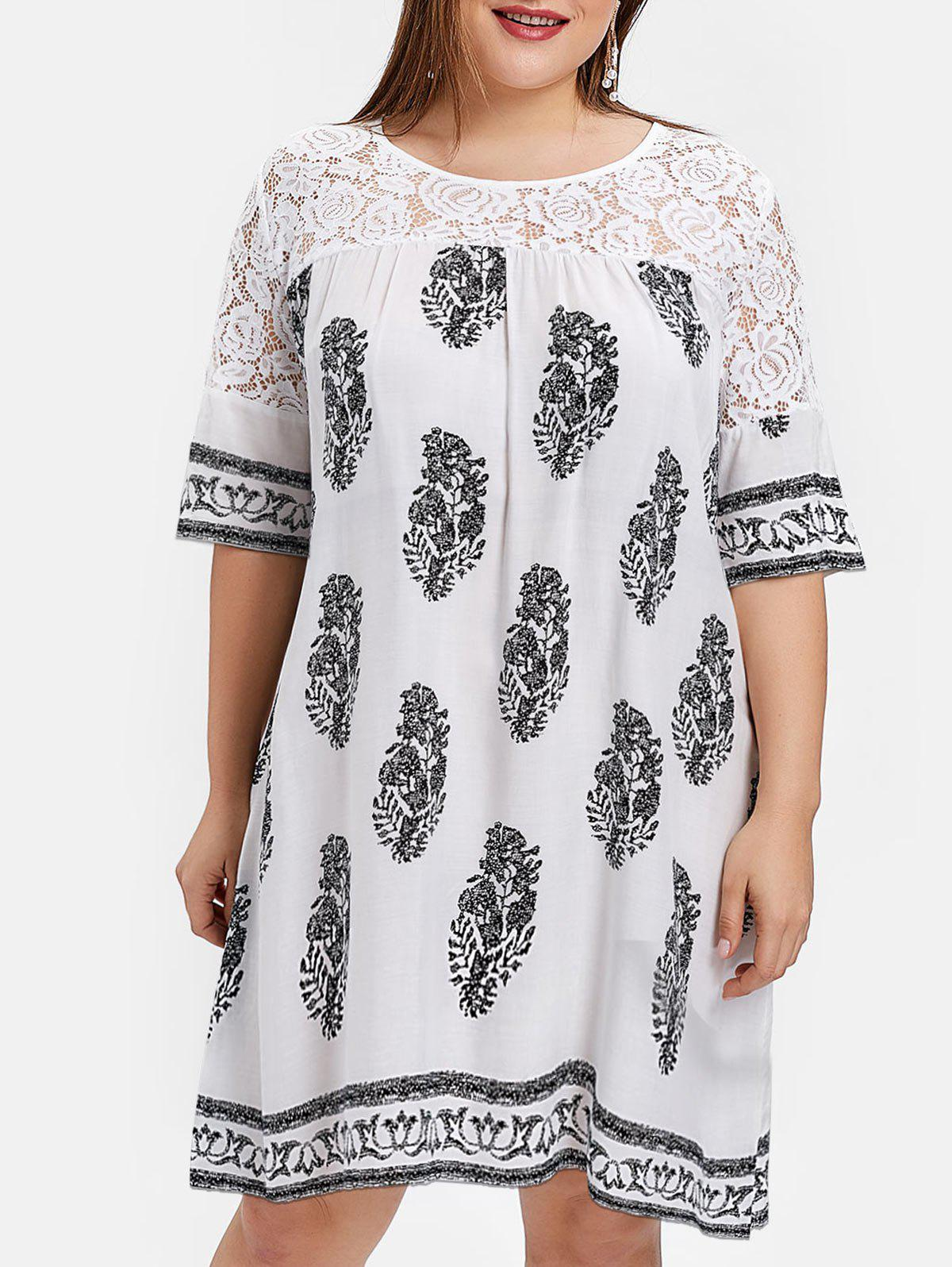 Store Plus Size Lace Panel Leaves Print Dress