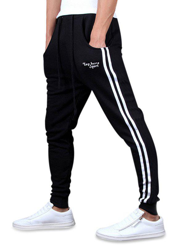 Online Letters Print Striped Long Drawstring Jogger Pants