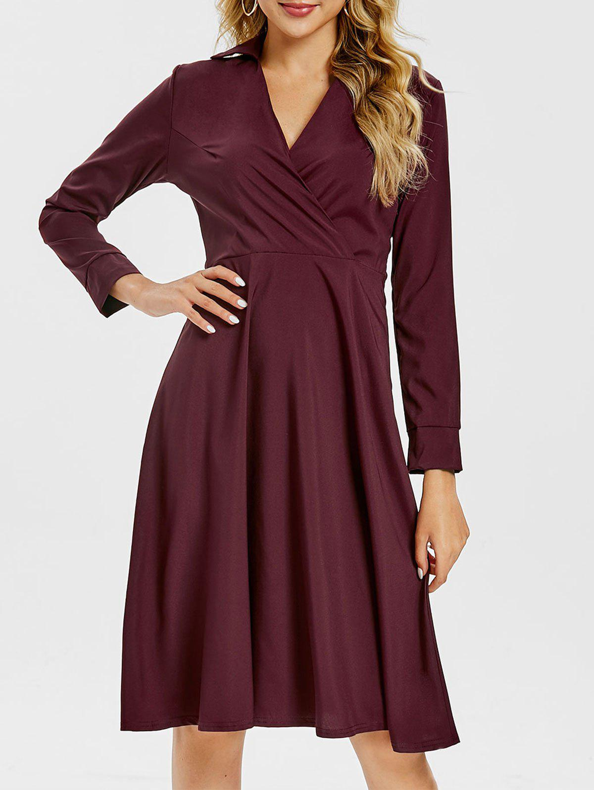 Sale Surplice A Line Shirt Dress