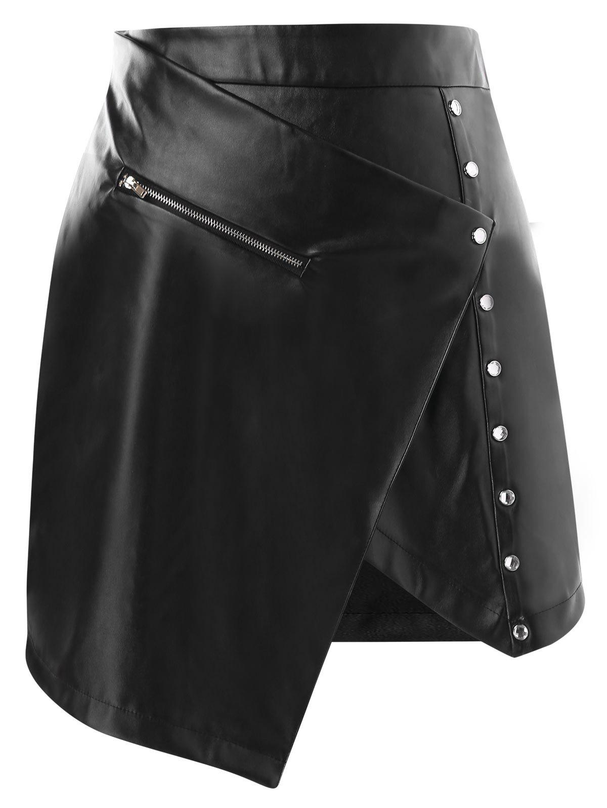 Latest Asymmetrical High Waisted Faux Leather Skirt