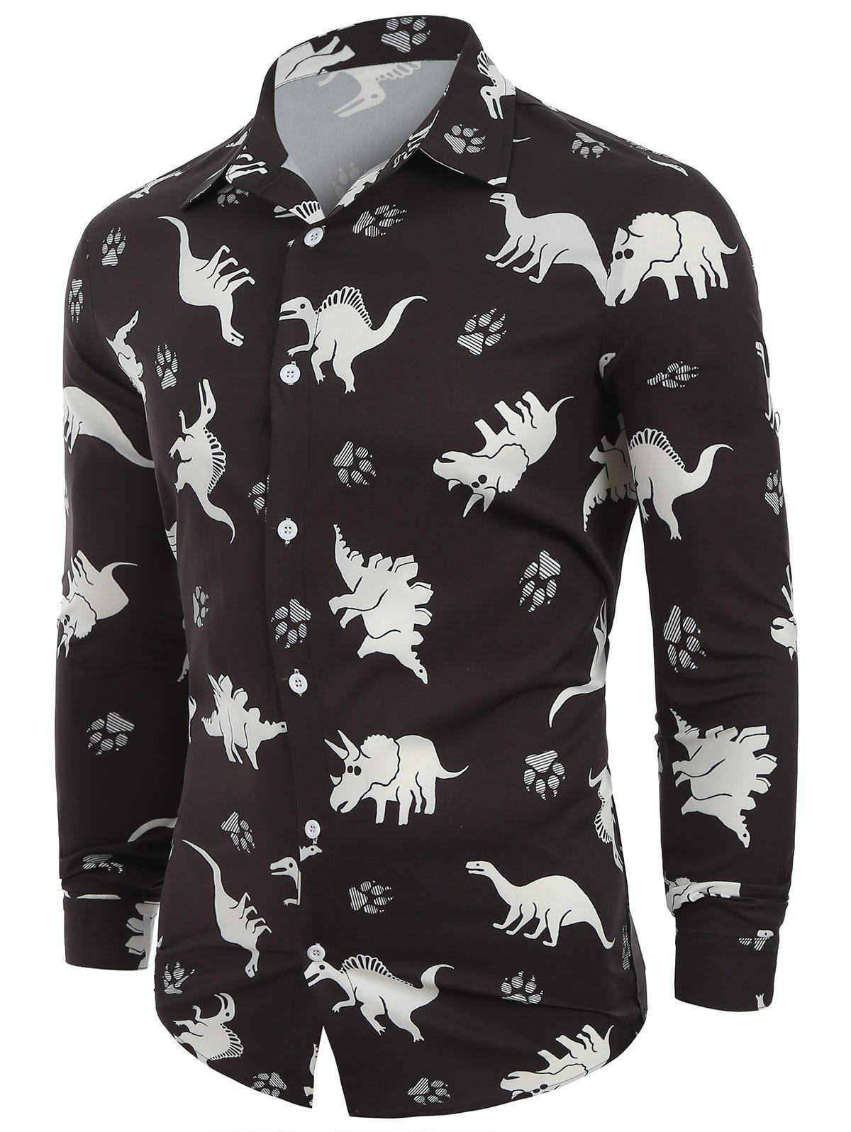Best Animals Print Button Up Long Sleeves Casual Shirt