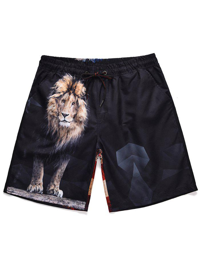 Cheap American Flag Lion Print Drawstring Beach Shorts