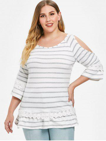 Applique Plus Size Striped T-shirt