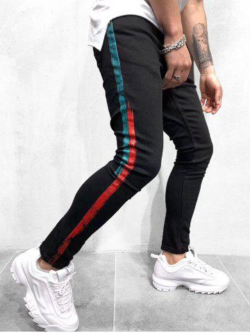 Painting Stripes Print Denim Pants