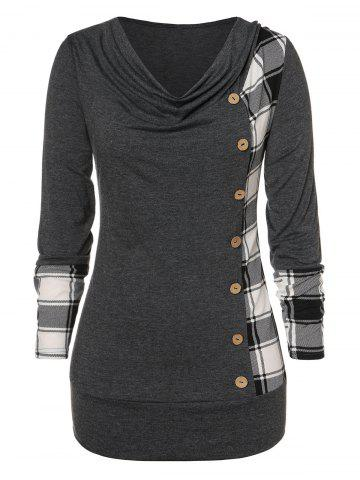 Cowl Neck Plaid Plus Size T-shirt