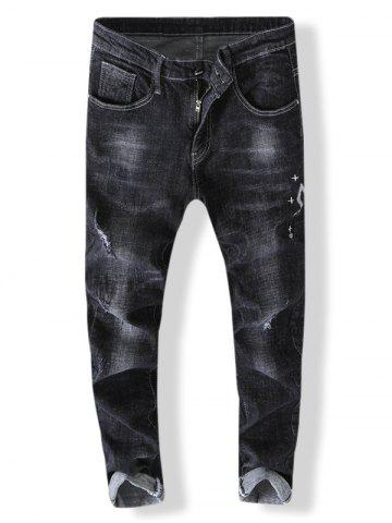 Embroidery Destroyed Zip Fly Jeans