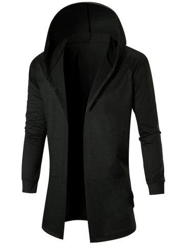 Solid Color Casual Longline Open Front Hoodie