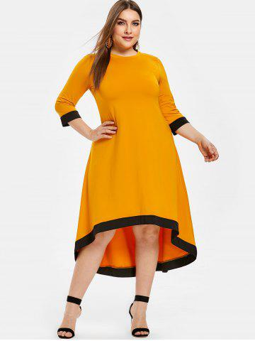 Contrast Trim Plus Size High Low Dress