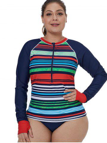 Zip Embellished Plus Size Rainbow Striped Surf Top