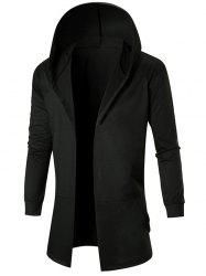 Solid Color Casual Longline Open Front Hoodie -