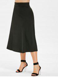 Zip Up Plus Size High Waist Skirt -