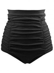 High Waist Plus Size Ruched Swim Briefs -