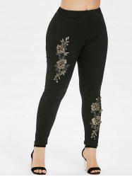 Floral Embroidery Plus Size Elastic Waist Leggings -