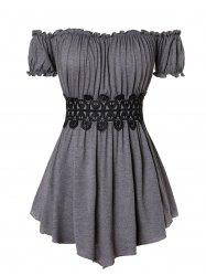 Plus Size Off The Shoulder Pleated T Shirt -