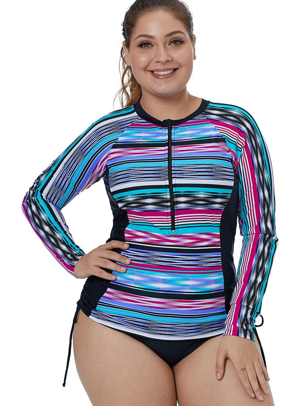 Outfits Zip Embellished Plus Size Striped Surf Top