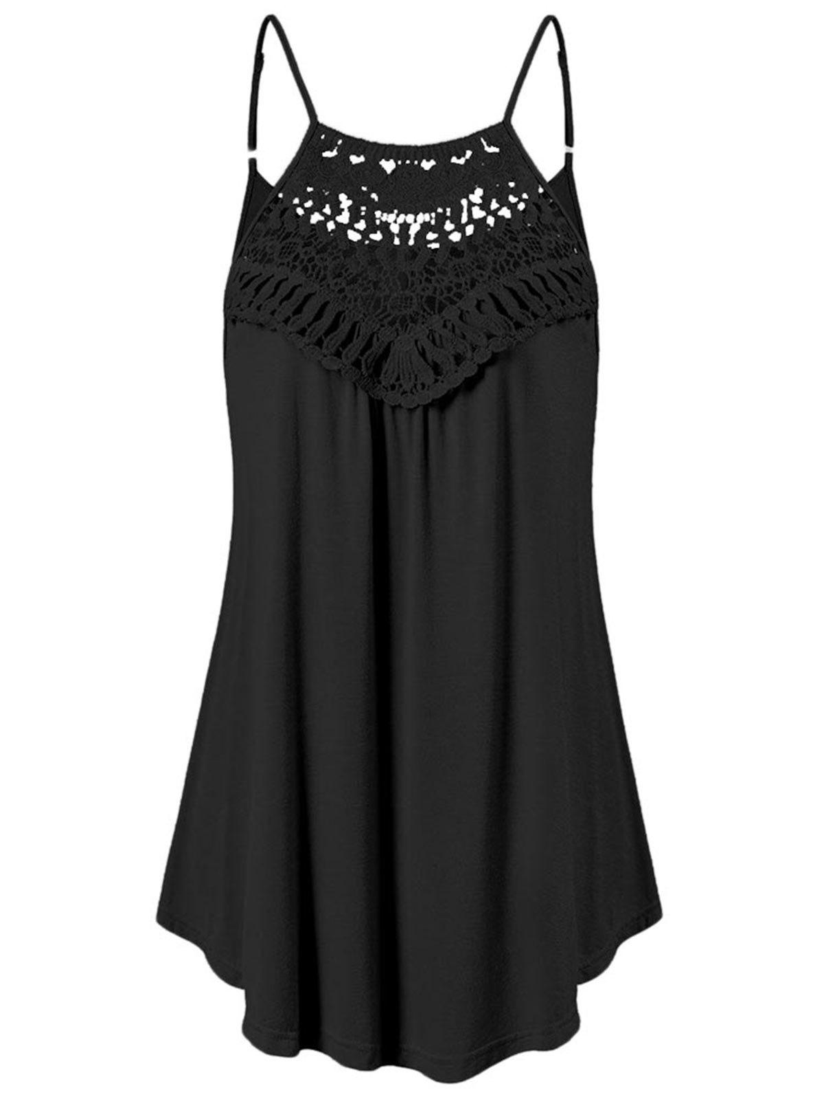 Online Lace Insert Trapeze Tank Top