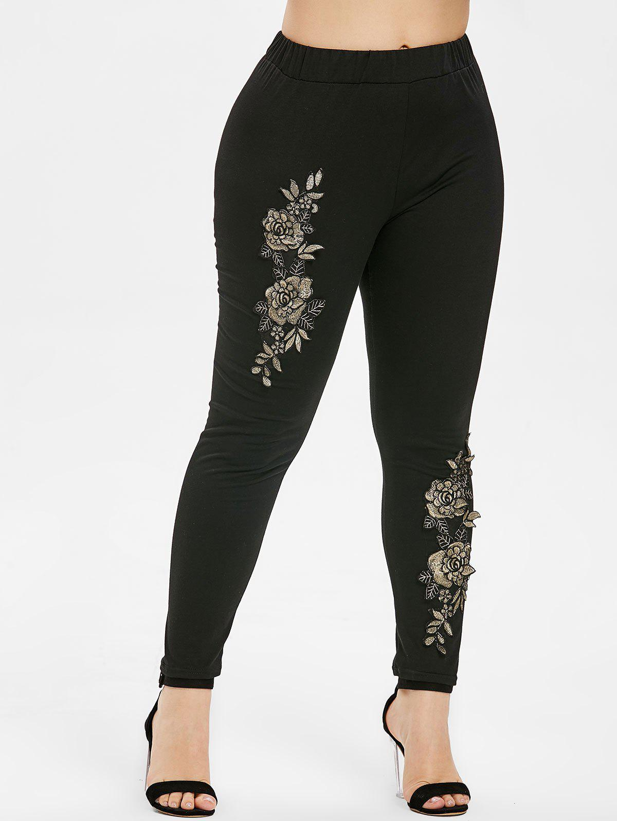 Buy Floral Embroidery Plus Size Elastic Waist Leggings