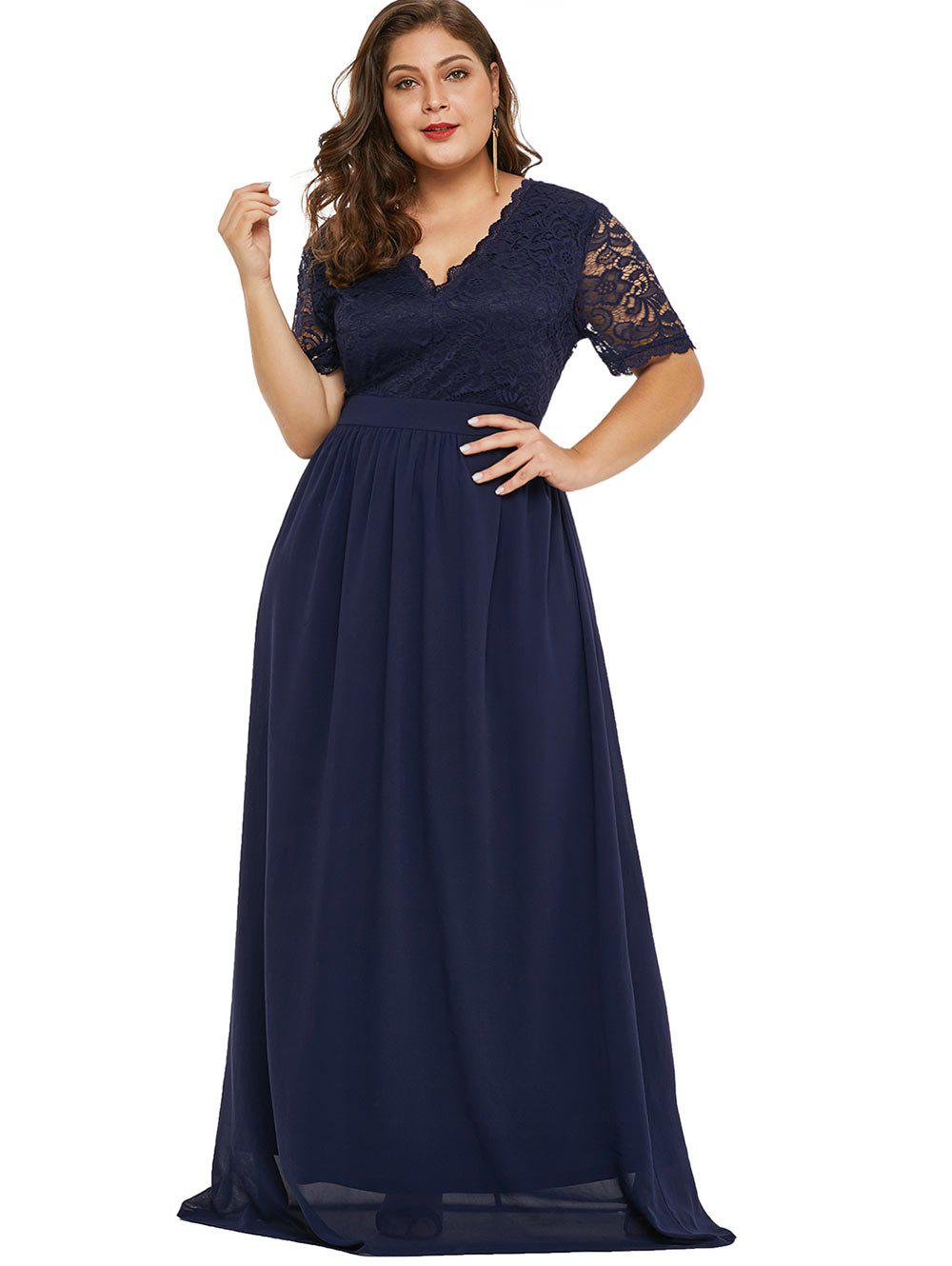 Plunging Neck Plus Size Lace Sleeve Maxi Dress