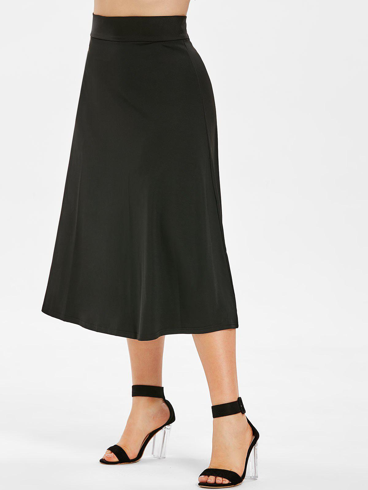 Sale Zip Up Plus Size High Waist Skirt