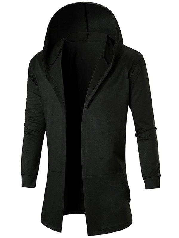 Cheap Solid Color Casual Longline Open Front Hoodie