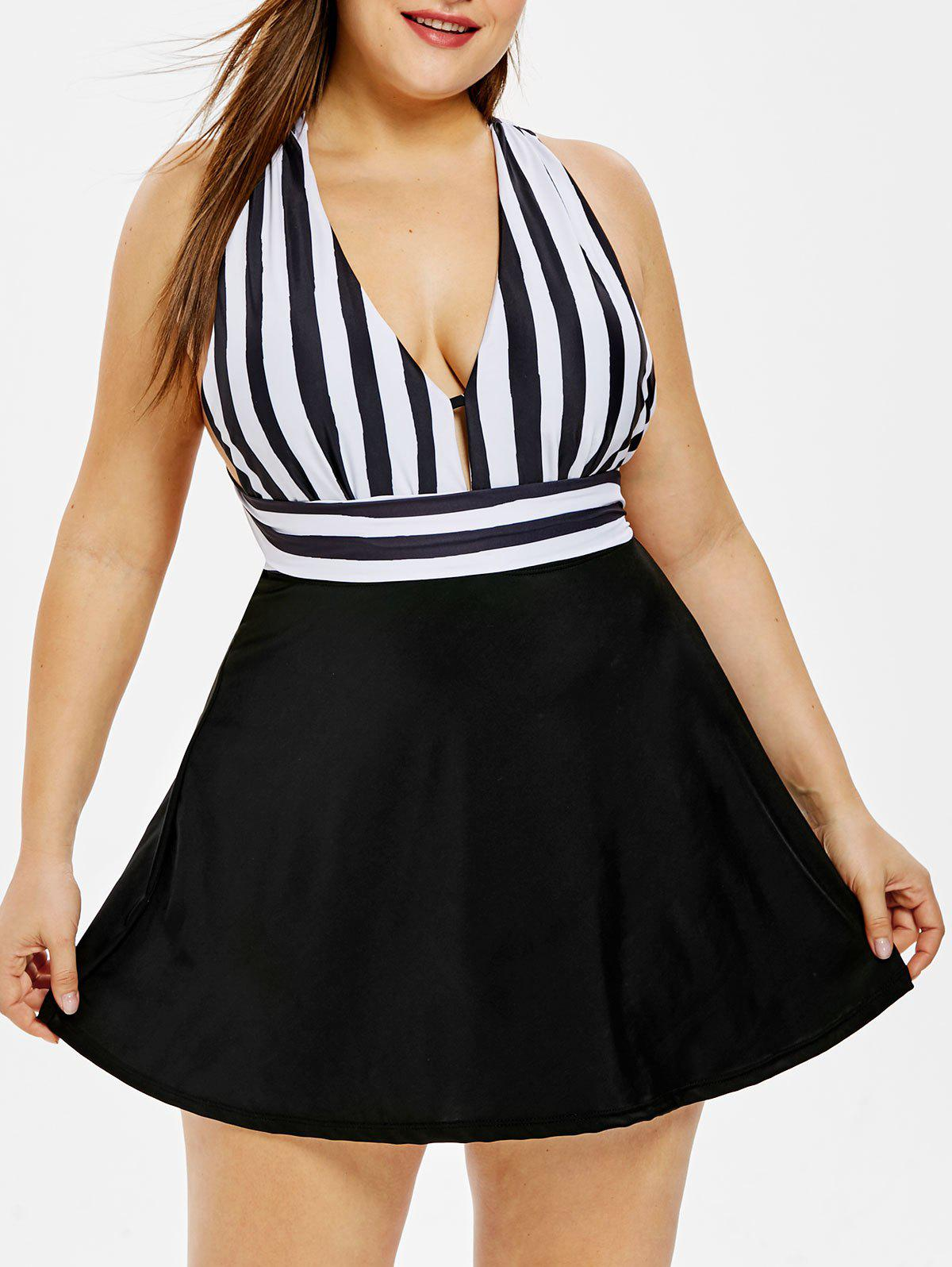 Hot Plunging Neck Plus Size Striped One Piece Swimsuit