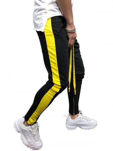 Two Tones Side Striped Patch Sports Pants