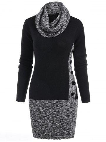 Panel Cowl Neck Bodycon Sweater Dress