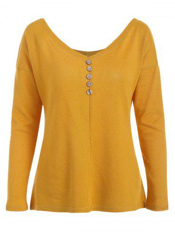 Buttoned Long Sleeve Knit Tee