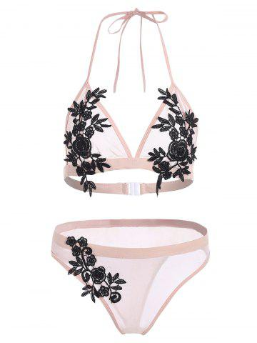 Mesh Applique Sheer Bikini Set