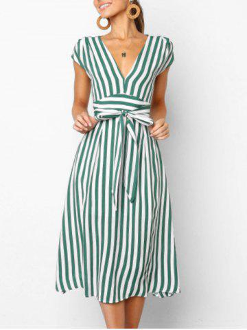 V Neck Cut Out Striped Midi Dress