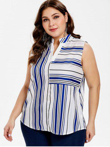 Plus Size Striped Sleeveless High Low Blouse
