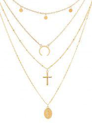Cross Shape Coin Decoration Multilayered Necklace -