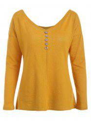Buttoned Long Sleeve Knit Tee -